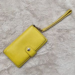 Coach Yellow Leather Wallet with Wrist Strap